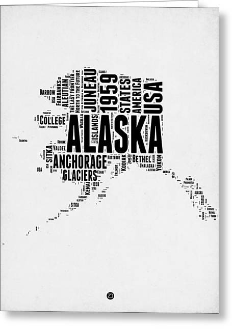 4th July Greeting Cards - Alaska Word Cloud 2 Greeting Card by Naxart Studio