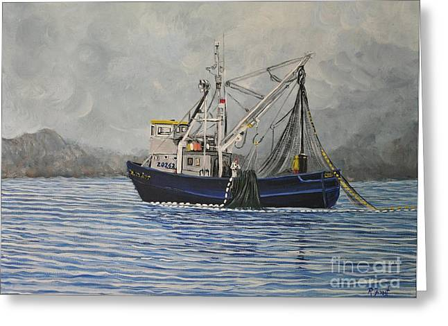 Boats In Water Paintings Greeting Cards - Alaskan Fishing Greeting Card by Reb Frost