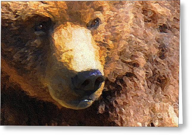 Kodiak Greeting Cards - Alaskan Kodiak Bear Greeting Card by Diane E Berry