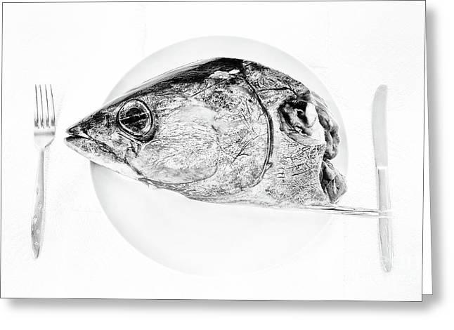 Albacore Tuna Head Greeting Card by Masako Metz