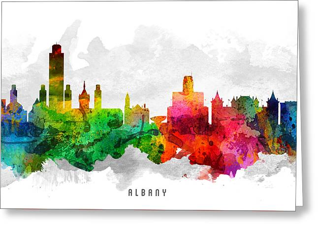 Albany Greeting Cards - Albany New York Cityscape 12 Greeting Card by Aged Pixel