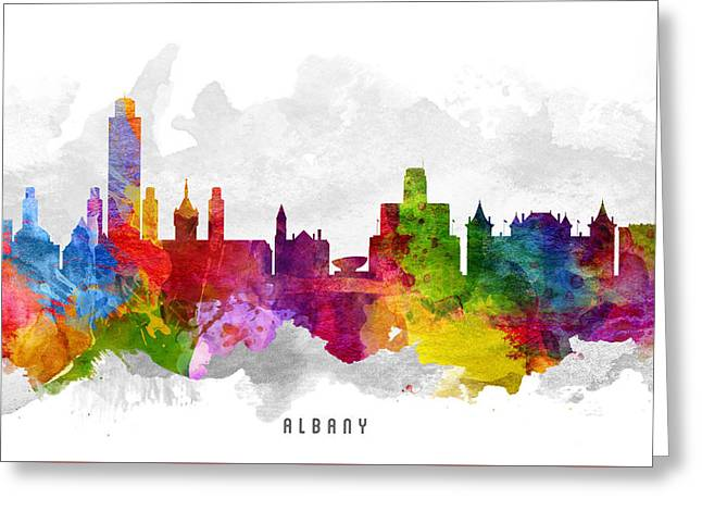 Albany Greeting Cards - Albany New York Cityscape 13 Greeting Card by Aged Pixel