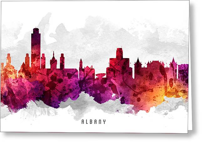 Albany Greeting Cards - Albany New York Cityscape 14 Greeting Card by Aged Pixel