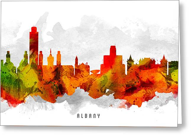 Albany Greeting Cards - Albany New York Cityscape 15 Greeting Card by Aged Pixel