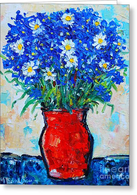 Interior Still Life Greeting Cards - Albastrele Blue Flowers And Daisies Greeting Card by Ana Maria Edulescu