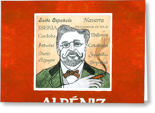 Pianist Mixed Media Greeting Cards - Albeniz Portrait Greeting Card by Paul Helm