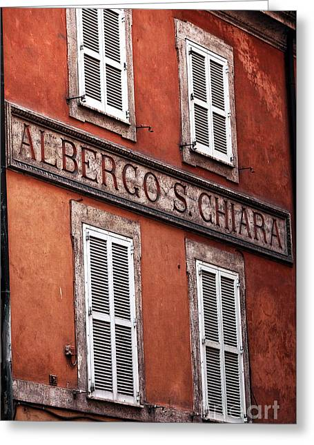 Chiara Greeting Cards - Albergo Chiara Greeting Card by John Rizzuto