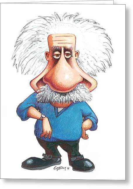 Best Sellers -  - Swiss Photographs Greeting Cards - Albert Einstein, Caricature Greeting Card by Gary Brown
