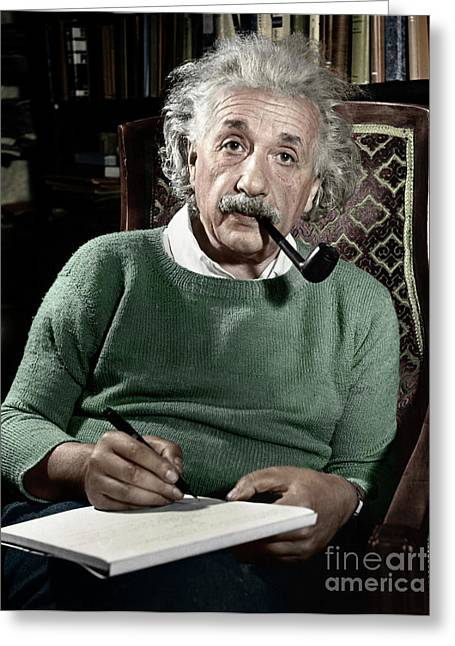 Moustache Greeting Cards - Albert Einstein Greeting Card by Granger