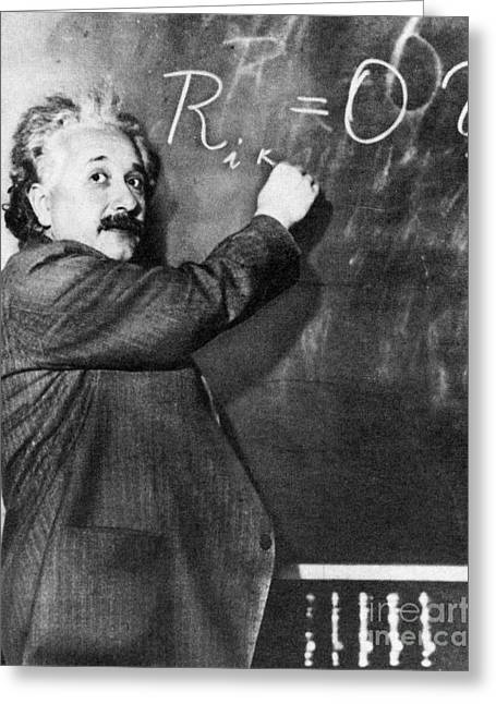Physicist Greeting Cards - Albert Einstein Greeting Card by Photo Researchers
