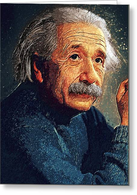 University School Greeting Cards - Albert Einstein Greeting Card by Taylan Soyturk