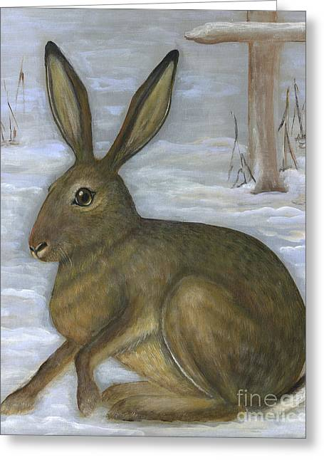 Polscy Malarze Greeting Cards - Albert the Hare Greeting Card by Anna Folkartanna Maciejewska-Dyba