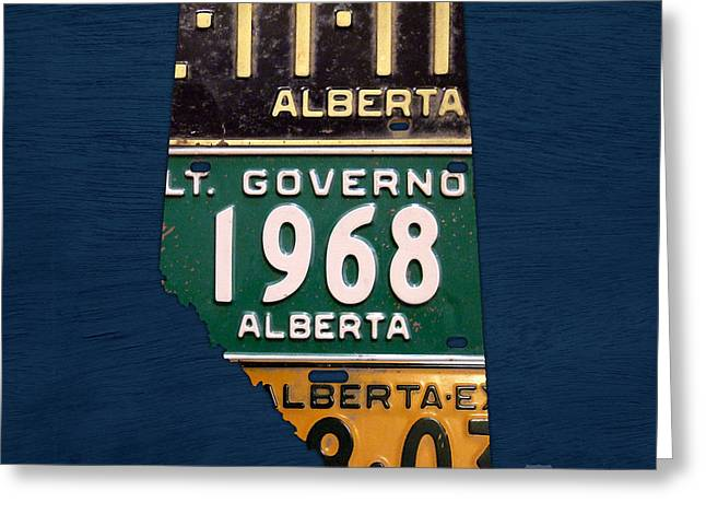 Alberta Greeting Cards - Alberta Canada Province Map Made from Recycled Vintage License Plates Greeting Card by Design Turnpike