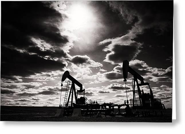 Black Gold Greeting Cards - Alberta Skyline Greeting Card by Ian MacDonald