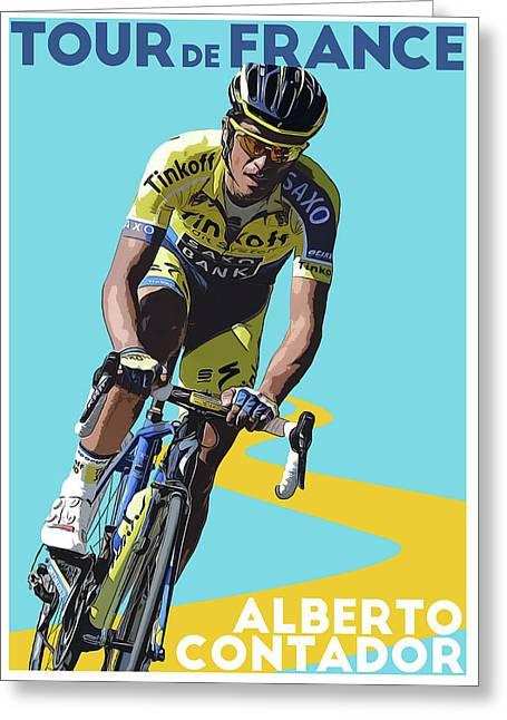 Alberto Contador Greeting Card by Semih Yurdabak