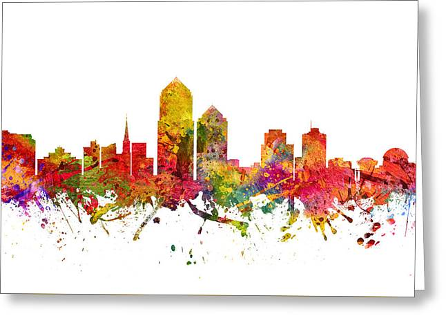 Albuquerque New Mexico Greeting Cards - Albuquerque Cityscape 08 Greeting Card by Aged Pixel