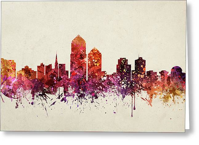 Albuquerque Greeting Cards - Albuquerque Cityscape 09 Greeting Card by Aged Pixel