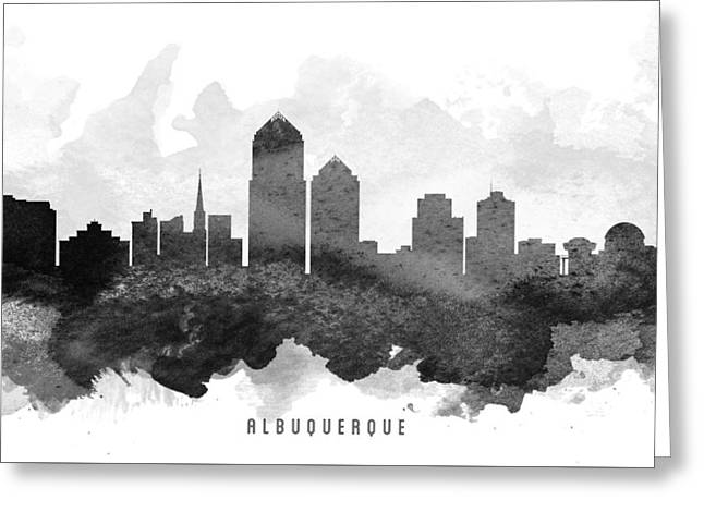 Mexico City Digital Greeting Cards - Albuquerque Cityscape 11 Greeting Card by Aged Pixel