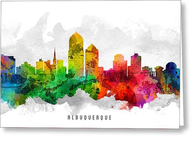 Mexico City Digital Greeting Cards - Albuquerque New Mexico Cityscape 12 Greeting Card by Aged Pixel