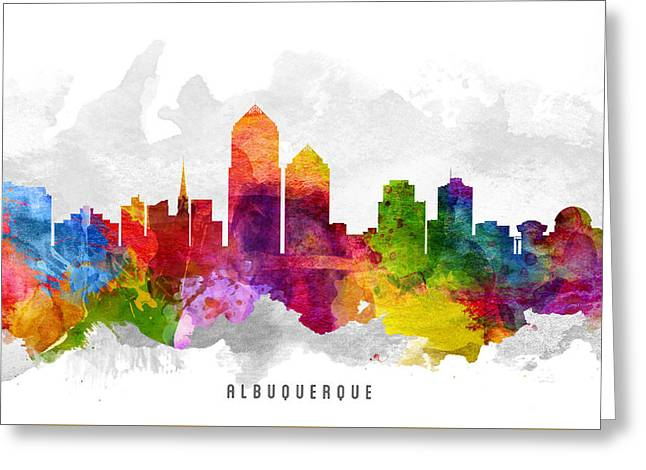 Albuquerque Greeting Cards - Albuquerque New Mexico Cityscape 13 Greeting Card by Aged Pixel