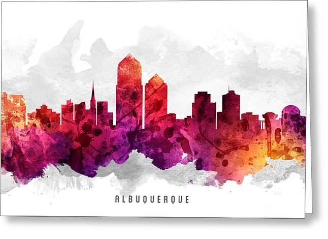 Mexico City Digital Greeting Cards - Albuquerque New Mexico Cityscape 14 Greeting Card by Aged Pixel