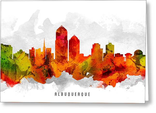 Albuquerque Greeting Cards - Albuquerque New Mexico Cityscape 15 Greeting Card by Aged Pixel