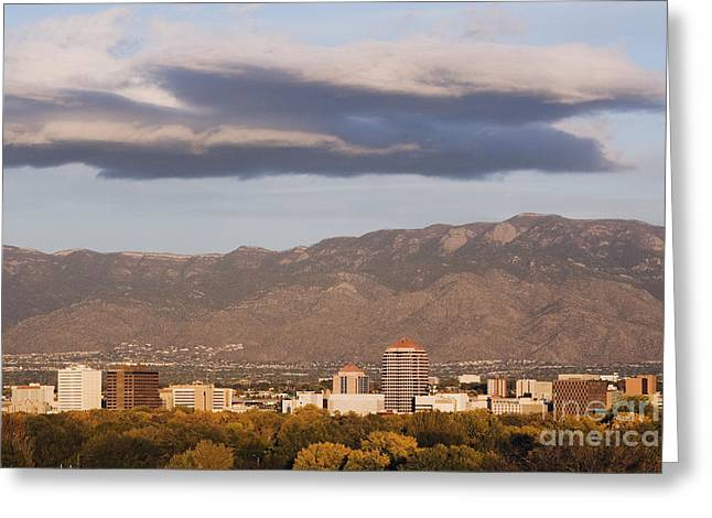 Sandias Greeting Cards - Albuquerque Skyline with the Sandia Mountains in the Background Greeting Card by Jeremy Woodhouse