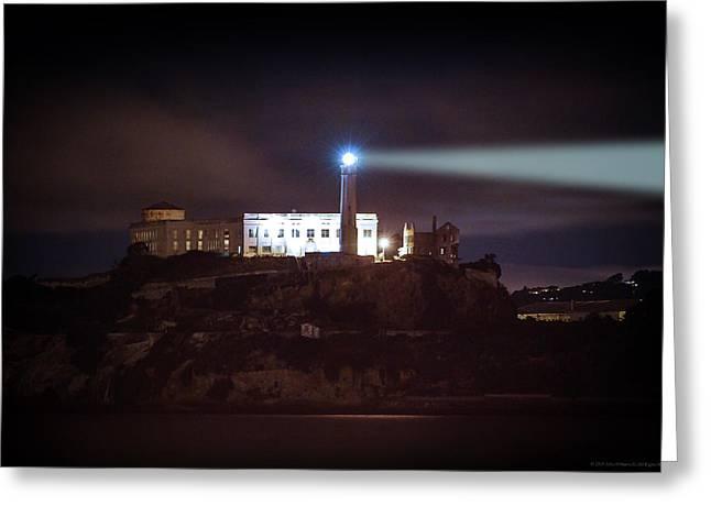 Alcatraz Greeting Cards - Alcatraz at Night Greeting Card by John Burns