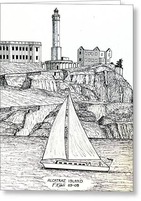 Historic Buildings Images Drawings Greeting Cards - Alcatraz Island Greeting Card by Frederic Kohli