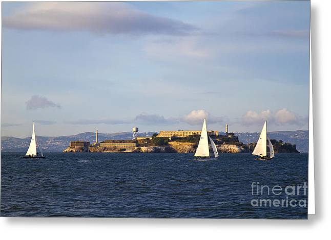 Alcatraz Greeting Cards - Alcatraz Island Prison in San Francisco Bay Greeting Card by ELITE IMAGE photography By Chad McDermott