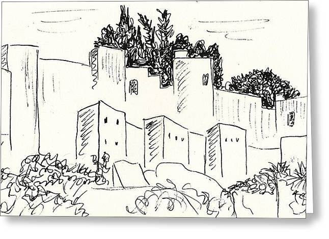 Sand Castles Greeting Cards - Alcazaba in Malaga Greeting Card by Chani Demuijlder