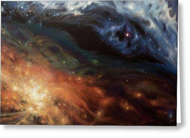 Deep Space Paintings Greeting Cards - Alchemy of Light Greeting Card by Lucy West