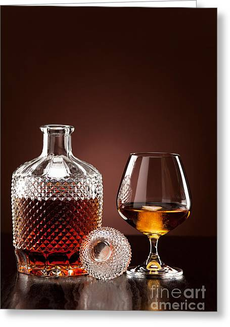 Drink Greeting Cards - Alcohol in carafe and glass Greeting Card by Wolfgang Steiner