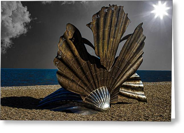 Blue Shadows Greeting Cards - Aldeburgh Beach Shell Sculpture Greeting Card by Martin Newman