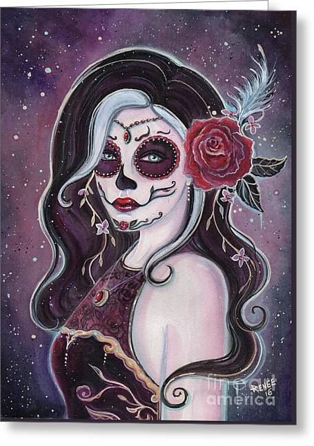 Alegria Day Of The Dead Greeting Card by Renee Lavoie