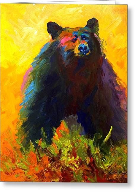 Alert - Black Bear Greeting Card by Marion Rose