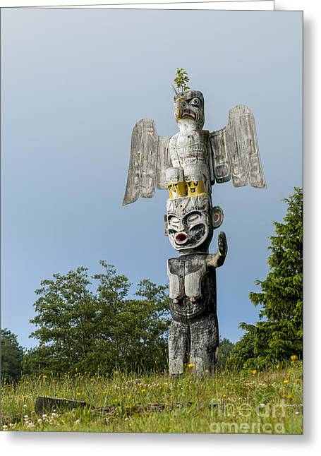 Alert Bay Greeting Cards - Alert Bay Totem Pole Greeting Card by Michael Wheatley