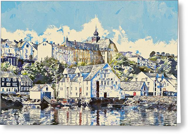 Norwegian Sunset Greeting Cards - Alesund Waterfront Greeting Card by John K Woodruff