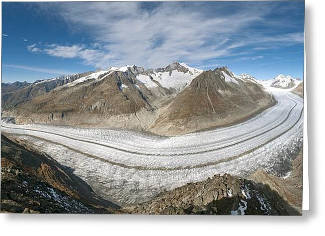 Environmental Science Greeting Cards - Aletsch Glacier, Switzerland Greeting Card by Dr Juerg Alean