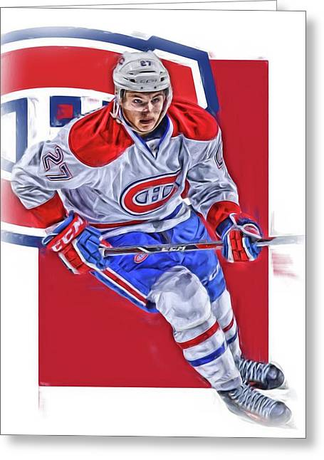 Alex Galchenyuk Montreal Canadiens Oil Art Greeting Card by Joe Hamilton
