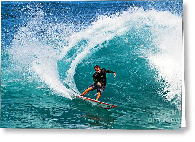 Surfer Art Greeting Cards - Alex Gray Carving Greeting Card by Paul Topp