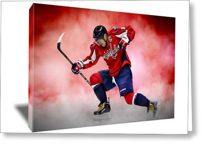 Alex Ovechkin Canvas Art Greeting Card by Artwrench Dotcom