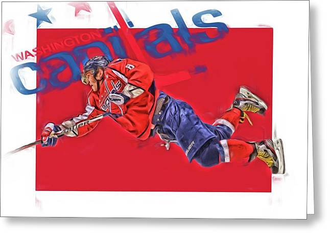 Alex Ovechkin Washington Capitals Oil Art 2 Greeting Card by Joe Hamilton