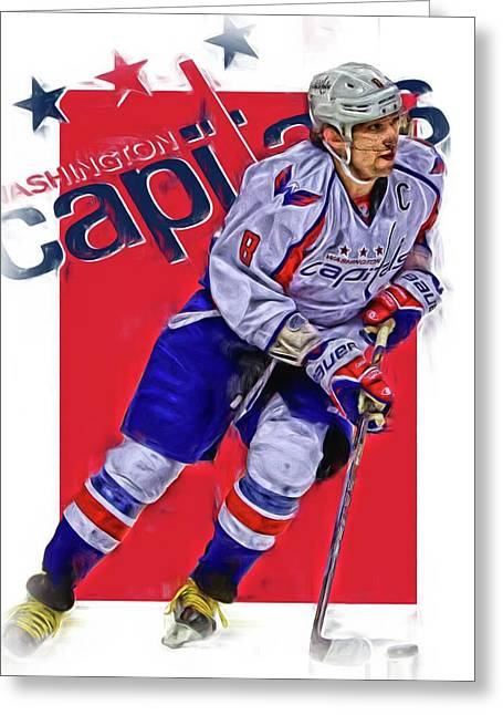 Alex Ovechkin Washington Capitals Oil Art 3 Greeting Card by Joe Hamilton