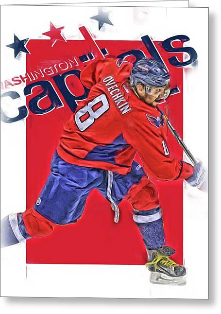 Alex Ovechkin Washington Capitals Oil Art Greeting Card by Joe Hamilton