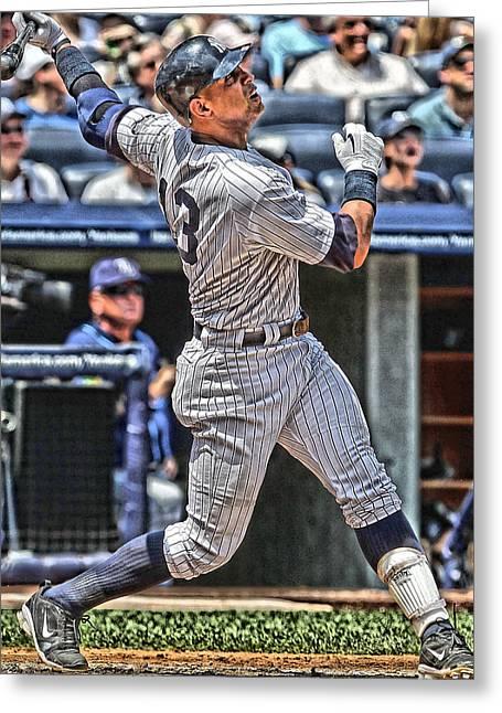 Alex Rodriguez New York Yankees Art 5 Greeting Card by Joe Hamilton