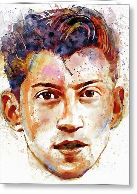 British Celebrities Greeting Cards - Alex Turner Greeting Card by Marian Voicu