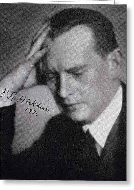 Russian Born Greeting Cards - Alexander Alexandrovich Alekhine Also Greeting Card by Vintage Design Pics