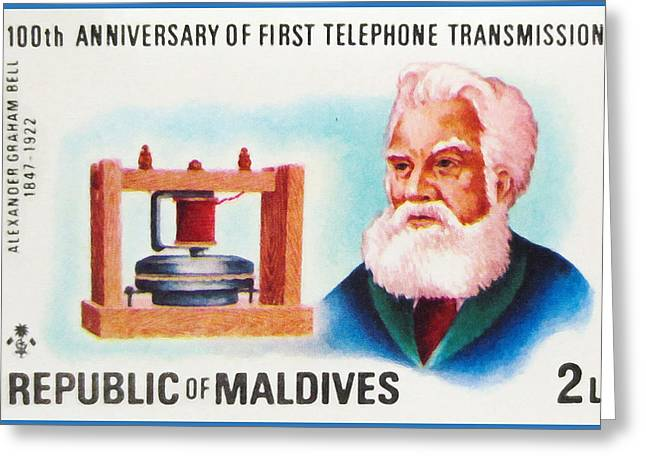 Mechanism Paintings Greeting Cards - Alexander Graham Bell 1847-1922 Greeting Card by Lanjee Chee