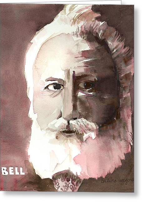 Monotone Paintings Greeting Cards - Alexander Graham Bell Greeting Card by Arline Wagner